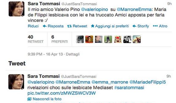 Emma Marrone e Maria De Filippi ad Amici erano amanti